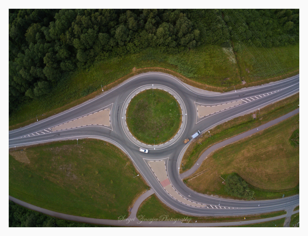 drone view of the road