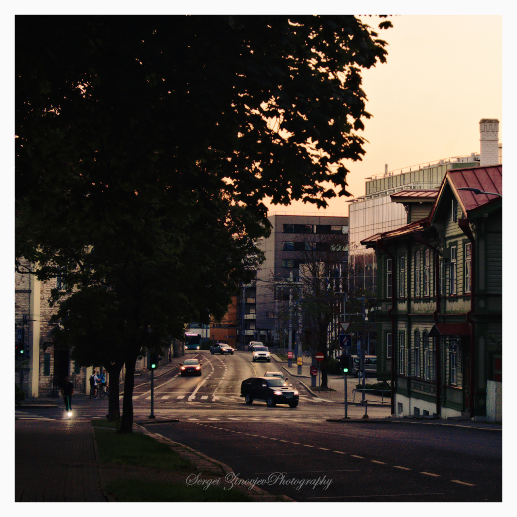 streets of Tallinn at sunset