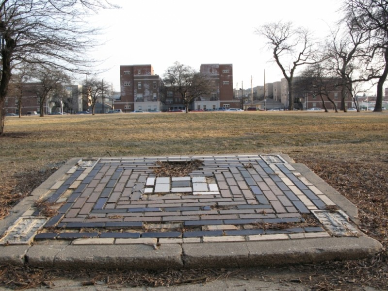 An odd foundation in a Chicago park