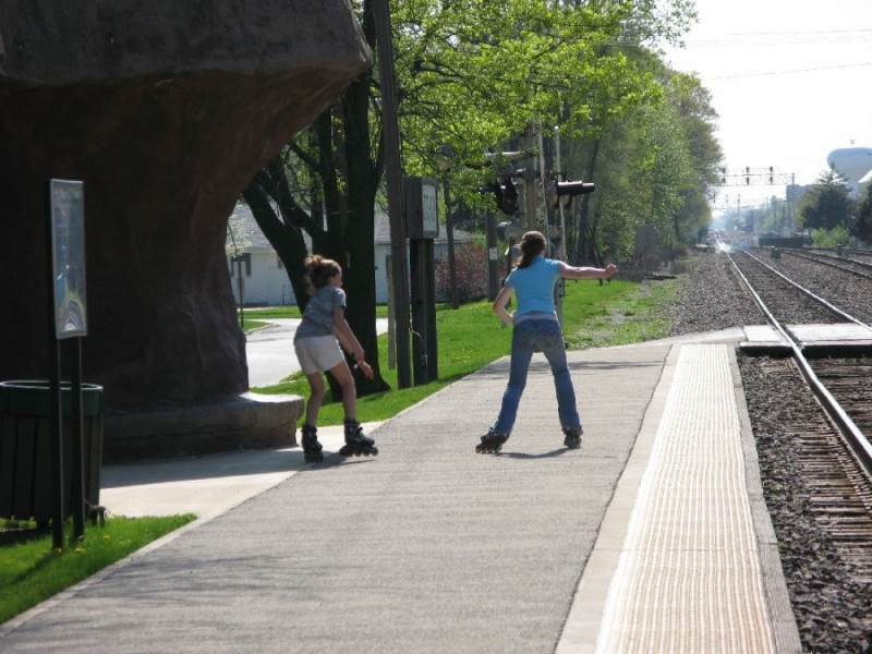 Rollerblading near the traintracks.