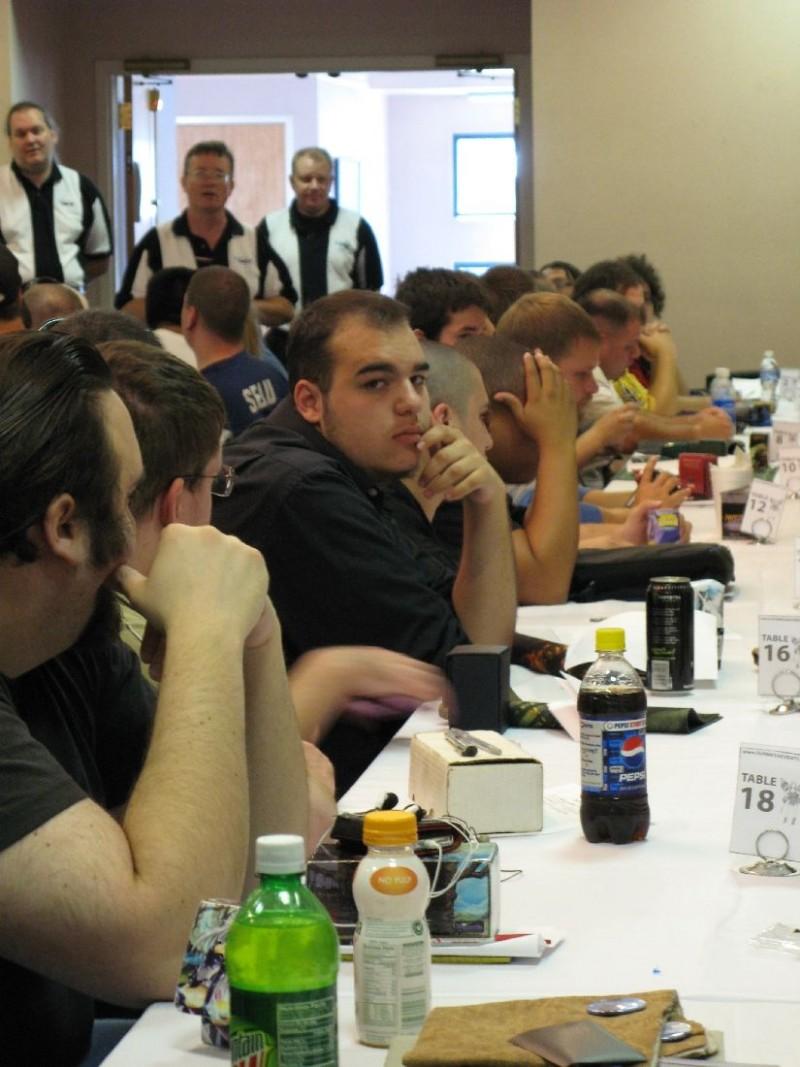At a Magic: the Gathering tournament.