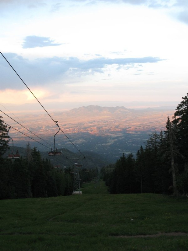 Sandia chair lift in summer.