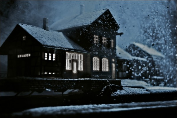house under a blizzard