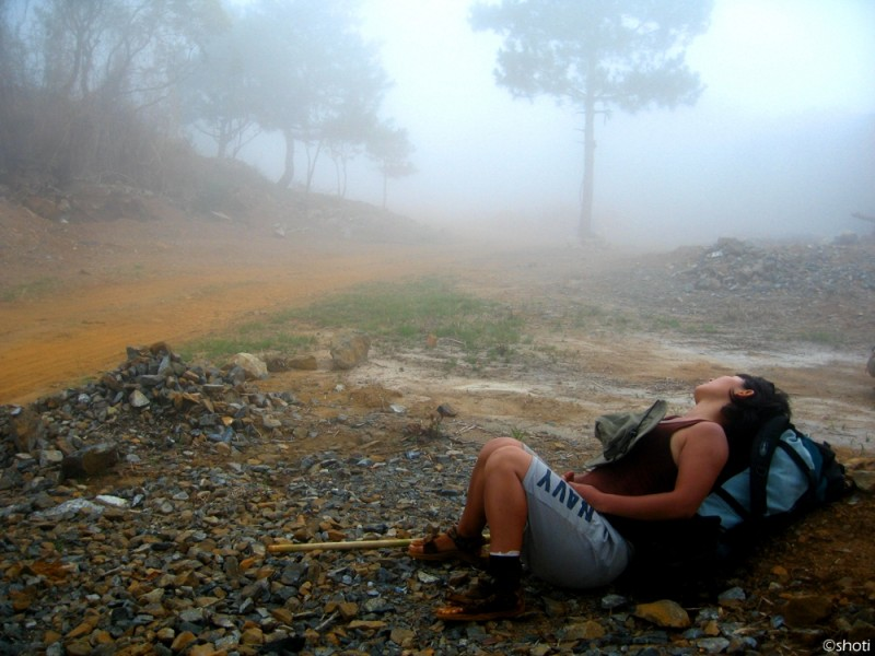brief rest after a very long trek