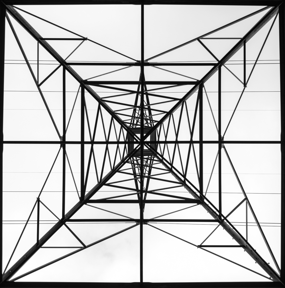 Power lines from below