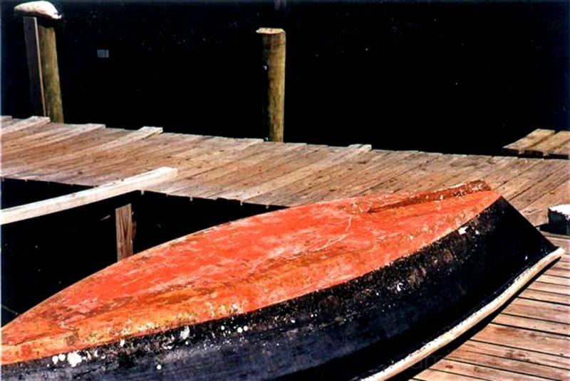 orange boat resting