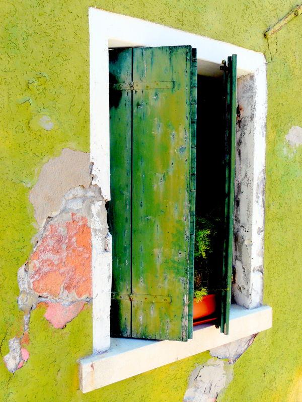 Volets verts à Burano