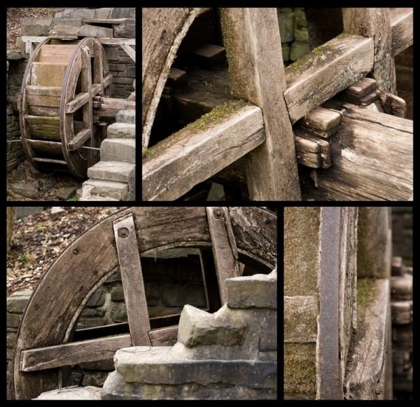 old medival water wheel near town center