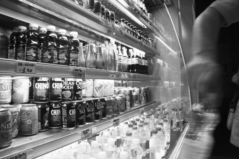 Bottles in a pizzaria in Rome