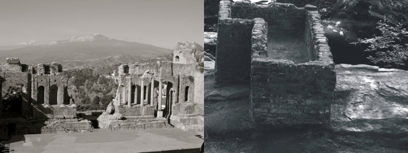 ruines, ruin(ed), side by side,
