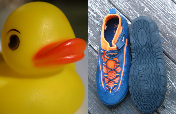 Squeaky, rubber duck, water shoes
