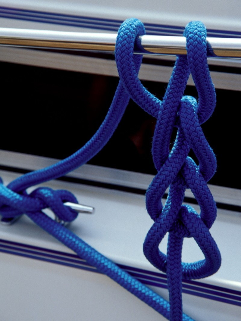 Rope knot on a yacht