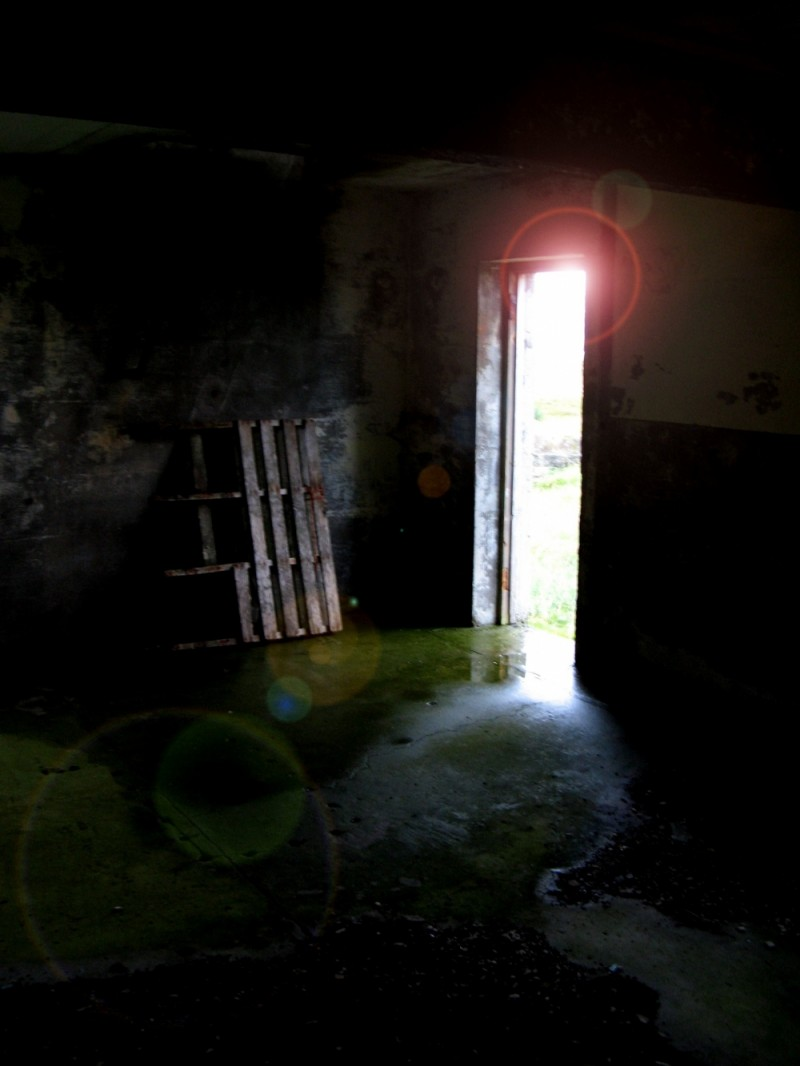 Light pours in through a bunker window