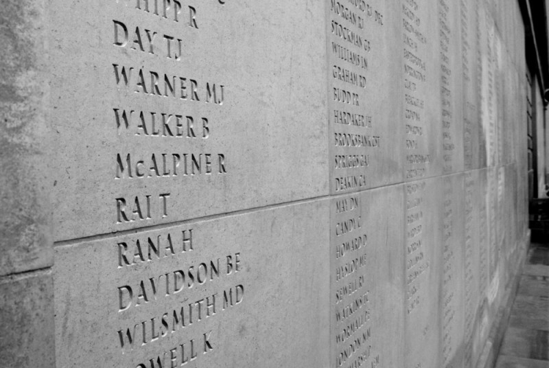 The names of dead servicemen and women.