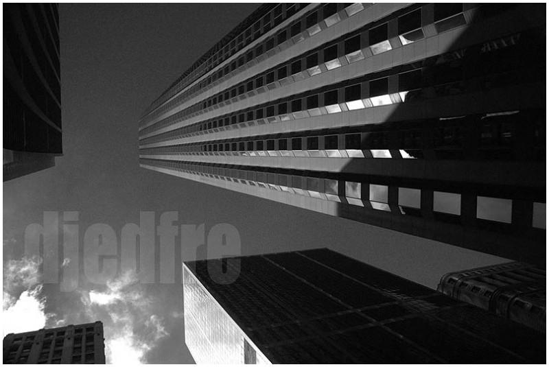 magritte like image of chicago skyline