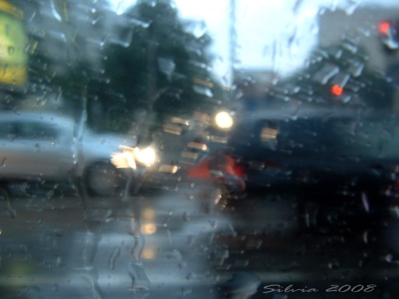 Cars through the window of a van