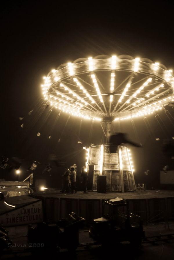 Carnival scene in monochrome