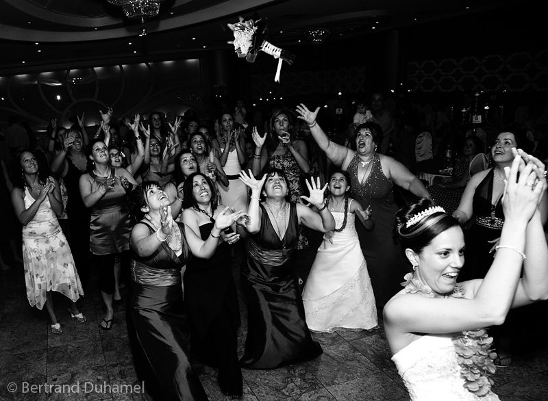 Throwing the bridal bouquet