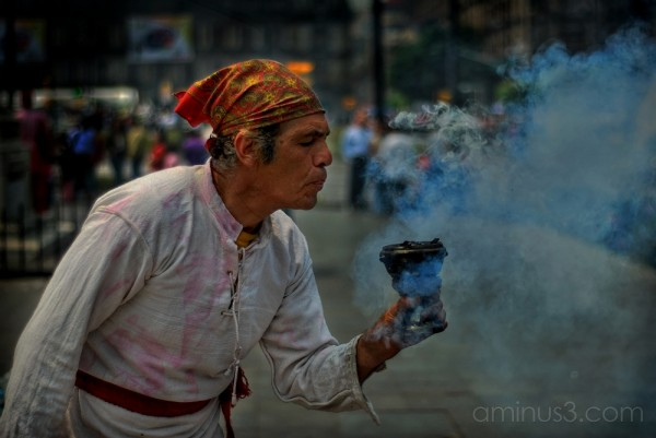 Brujo shows his stuff at the Zocalo, Mexico City.