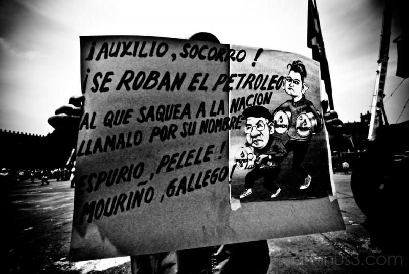 Protesting in the street of Centro Historico.