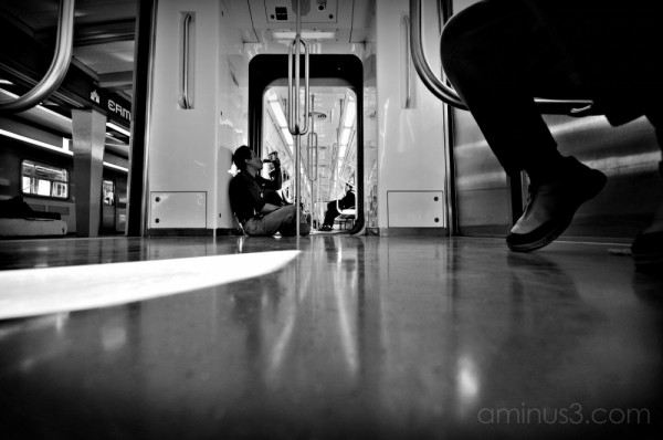 Placing the camera on the floor of the metro.
