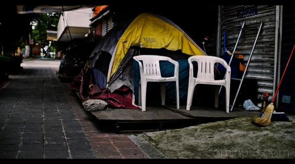 Tents belonging to homeless in Mexico City.