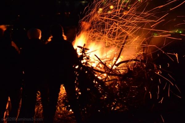 A warming fire.