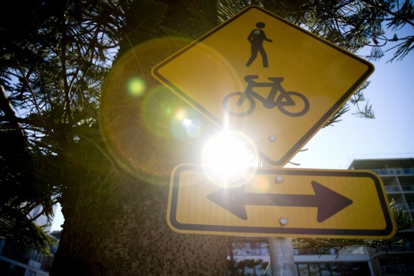 Sign with lens flare