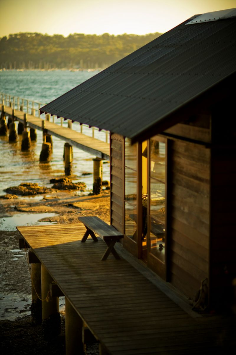 boathouse with a pier