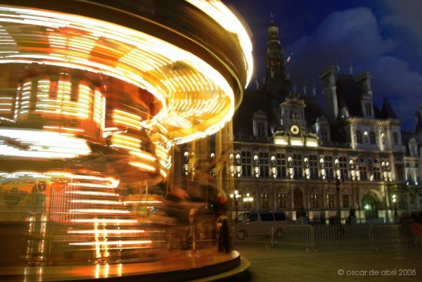 spinning carrusel by the city hall
