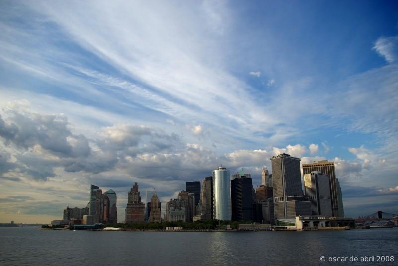 Manhattan skyline from water