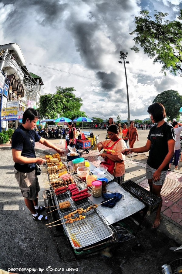 A hawker selling food