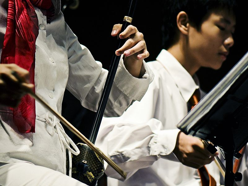 Someone playing the erhu