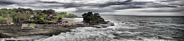 A panoramic view of Pura Tanah Lot