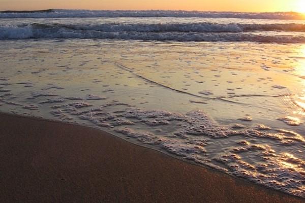 sunset on Caparica Beach, Portugal