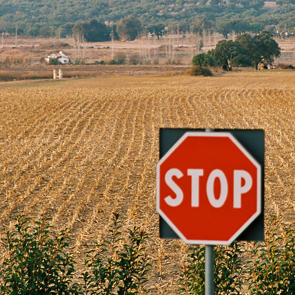 STOP sign on countryside, Alentejo, Portugal