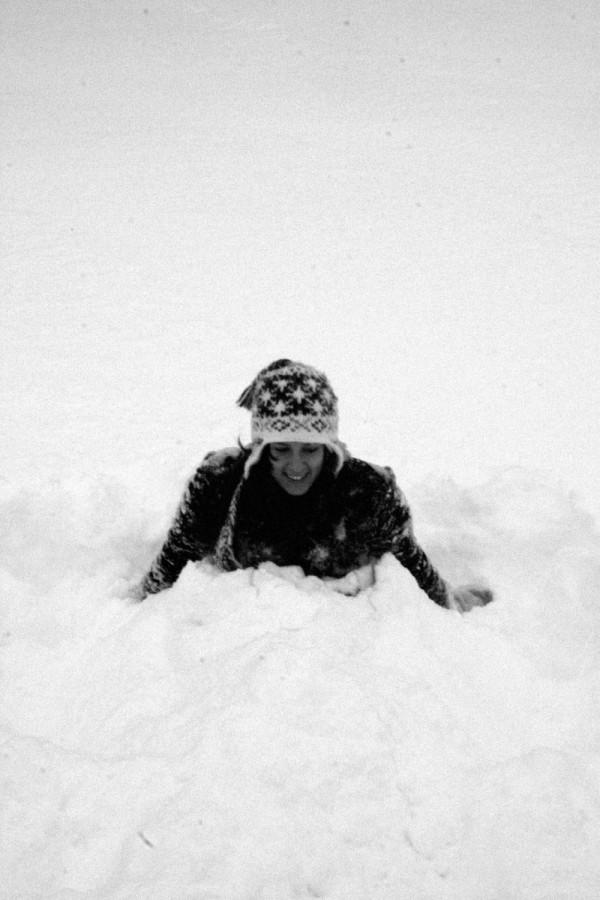 Jordan buried in the snow.