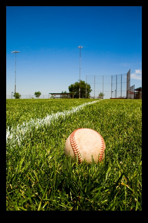 Baseball on the 3rd base line