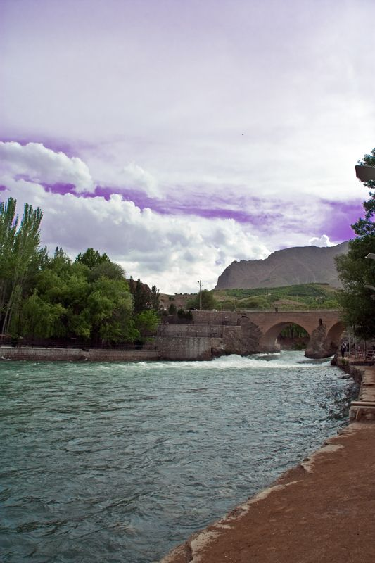 Sky , montain , Bridge and the River