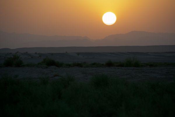 Sunset in the desert of Maranjab
