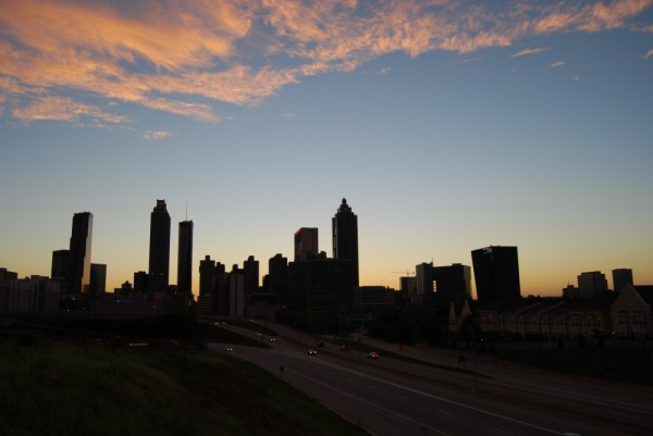 Atlanta skyline at sunset, from Freedom Parkway