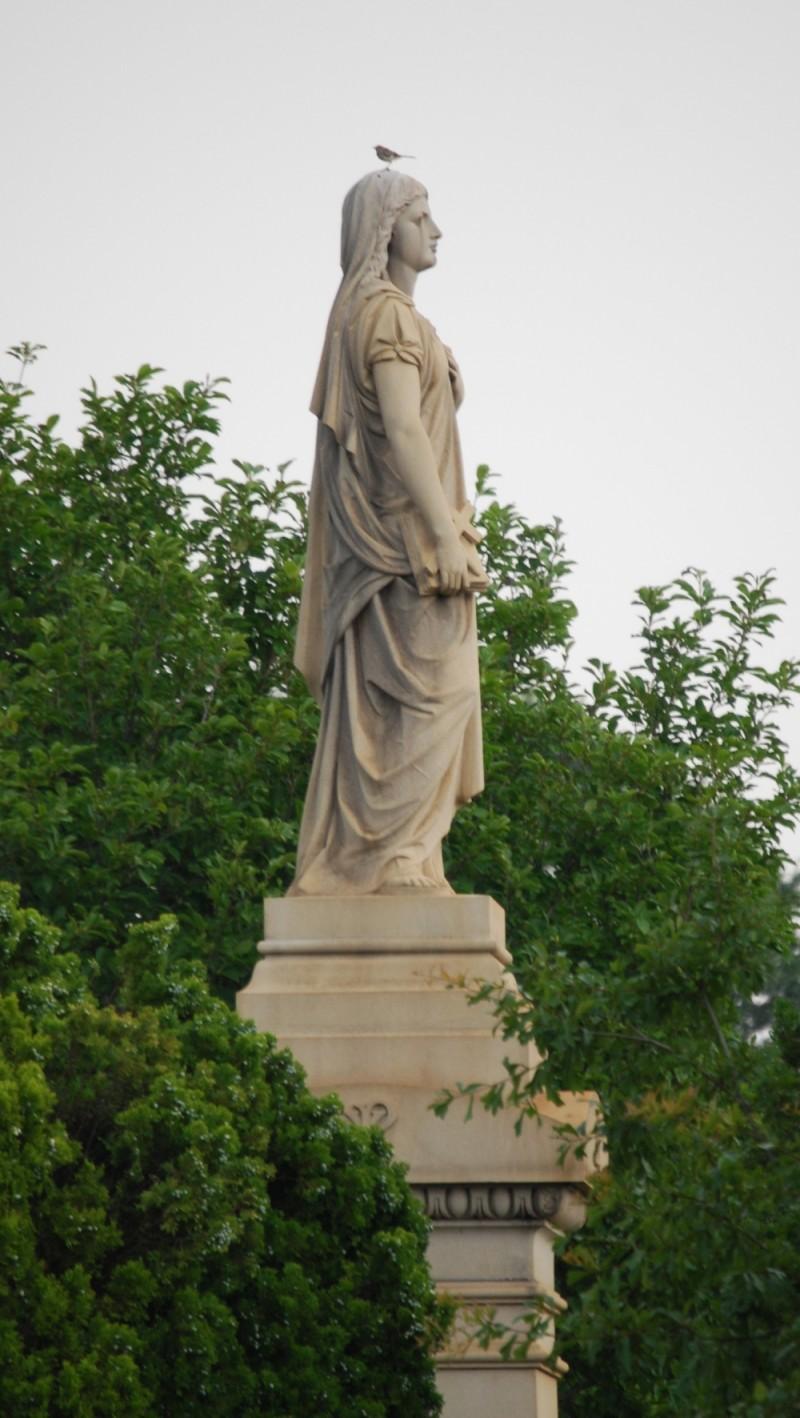 Statue, Oakland Cemetery. Bird as a bonus.