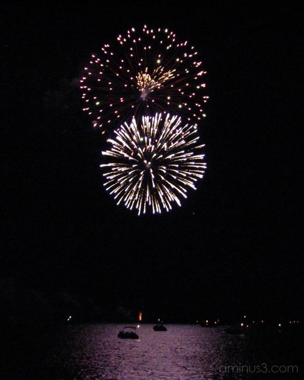 Fireworks over Kingston harbour.