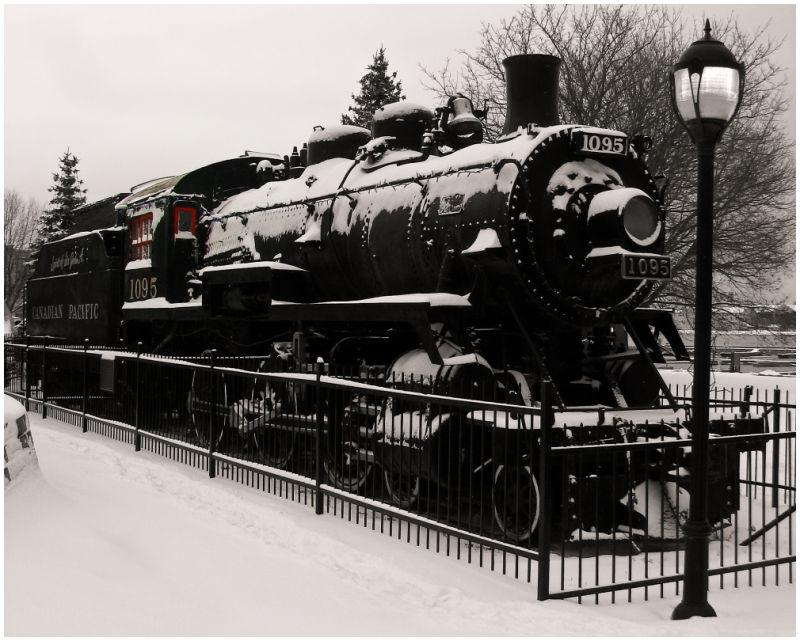 The Sir John A under snow.