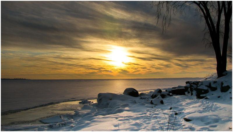 Sunset on frozen Lake Ontario