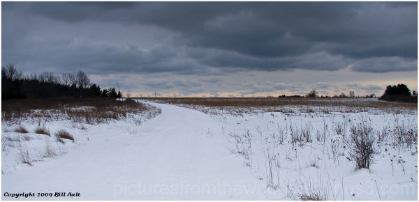 Frozen fields of snow.