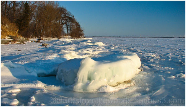Ice along the shoreline of Lake Ontario
