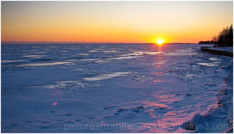 Sunset on frozen Lake Ontario