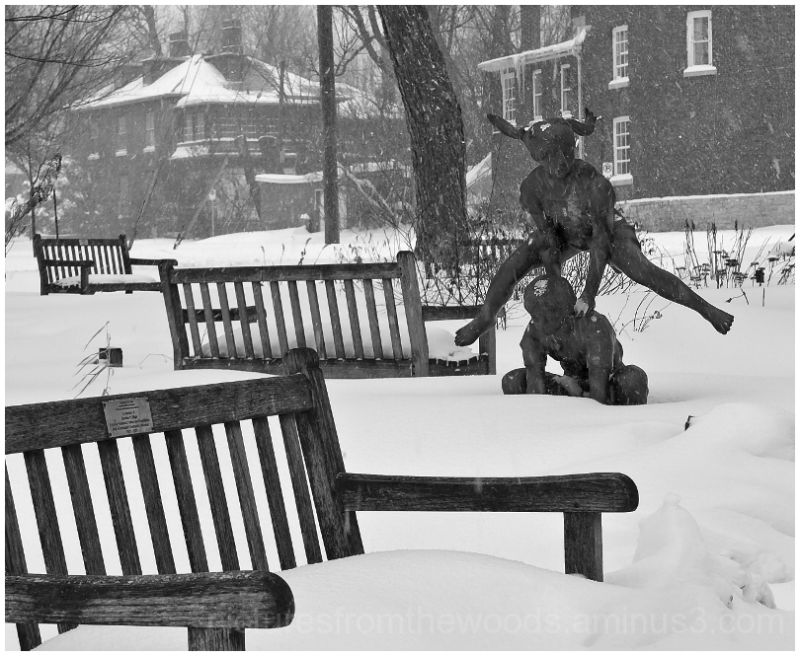 Leapfrog statue in Kingston during Winter Storm