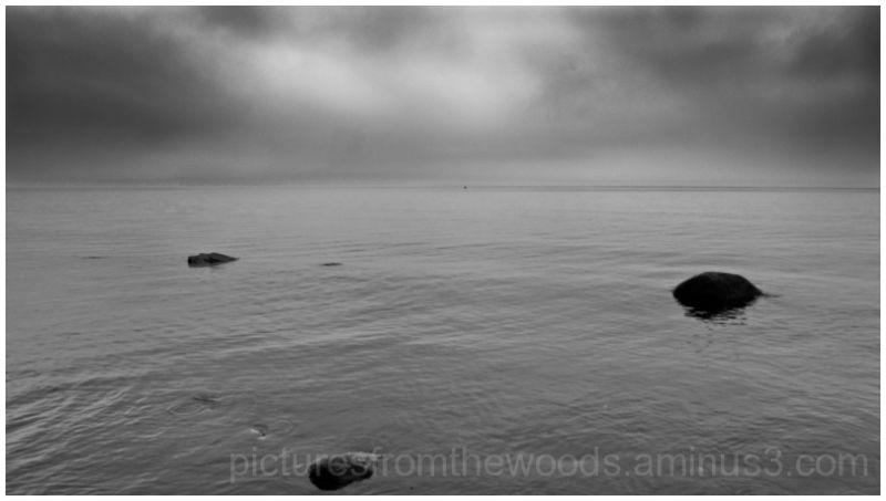 A gray of rain on the lake.